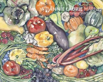"Assorted Vegetables -  18x24"" Watercolor Fine Art Print"