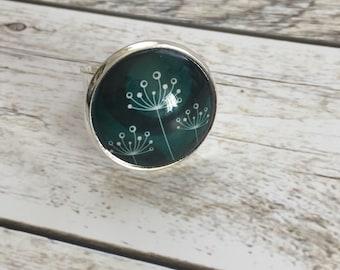 "Ring ""flower emerald green"""