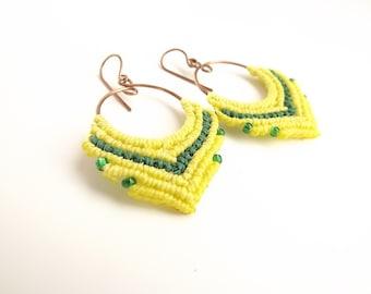 Macrame Earrings - Hoop Earrings, Green And Yellow Earrings On Antique Copper Hoops