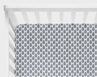 Gray Nursery Bedding, Crib Sheets, Changing Pad Cover, Baby Girl, Boy Crib Bedding, Gray and White Baby Bedding, Rain Drops Crib Bedding