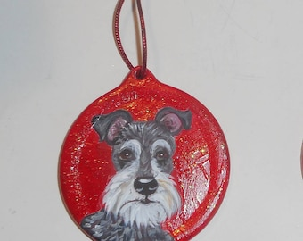 Miniature Schnauzer Dog Custom Hand Painted Christmas Ornament Decoration