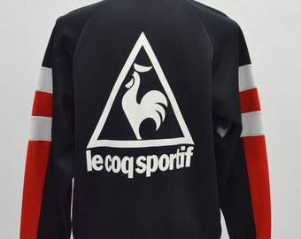 Rare 90's made in Japan vintage Le Coq Sportif pullover track top half zipper sweater size L large tracktop sportswear big logo