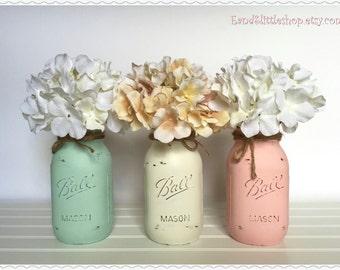 Mason Jars Sets-Home Decor-Mason Jars Centerpiece-Wedding Centerpieces-Country Decor-Vintage-Shabby Chic Decor-White-Pink-Mint-Blue-Lilac