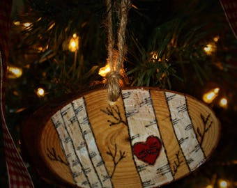 Rustic Wood Slice Christmas, Wedding or Valentines Day Ornament