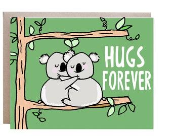 Hugs Card, Love Card, I Love You Card, Anniversary Card, Valentines Day Card, Anniversary card, Koala Bear