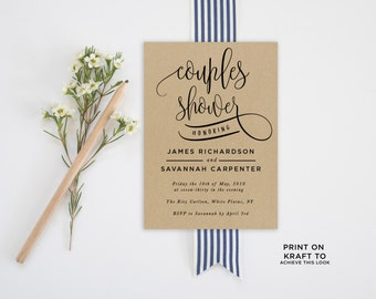 Couples Shower Invitation Template | Editable Invitation Printable | Engagement Couples Shower Calligraphy Kraft Invite | No. PW 5336