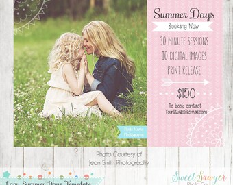 INSTANT DOWNLOAD - Summer Mini Sessions Photoshop Template - Marketing Board Template - Photo Card -  5x7  Photo template -