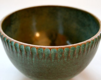 Fluted Bowl - Copper Green and Toasty Brown Ceramic Bowl with Carved Rim