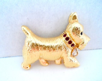 Vintage Napier Gold Tone and Red Rhinestone Scottie Dog Brooch Pin Vintage Figural Pins Dog Pins Signed Napier