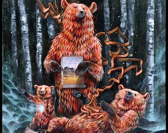 "Bear Artwork - Bear Art - Mixed Media Art - Surreal Art - ""Birch Bears"" by Black Ink Art"