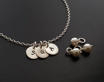 """3 Sterling Silver Charms Tiny 3/8"""" Disc Hand Stamped INITIAL Letters Love Mommy Mom Grandmother Family Circle Necklace Swarovski Crystals"""
