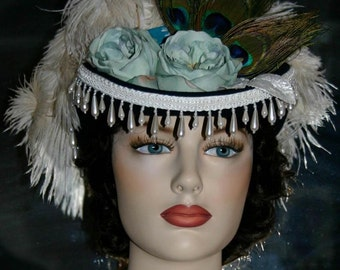 Victorian Hat, SASS Hat, Riding Hat, Sidesaddle Hat, Western Hat, Tea Party Hat, Kentucky Derby Hat, Green Ivory Hat - Spirit of Deadwood IV