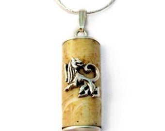 Sterling Silver Judaica Pendant Natural Jerusalem Stone Rectangle Mezuzah Lion Of Judah Necklace