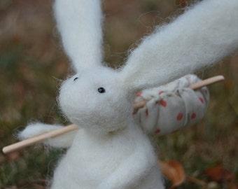 Needle Felt Rabbit on an Adventure,Bunny,Hare, Gift,Needlefelt,Soft Sculpture,OOAK,Fibre Art,Miniature,Good Luck,Miss You, Adventure,Country