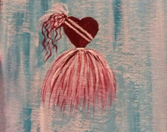 Red Heart Dress  5x7 Original Art Painting