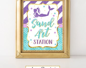 Printable Mermaid Party Sign, Sand Art Station, Party Decoration, Baby Shower, Birthday, Under the Sea Party A-081