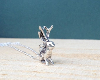 sterling silver jackalope necklace | charm necklace | gift for her