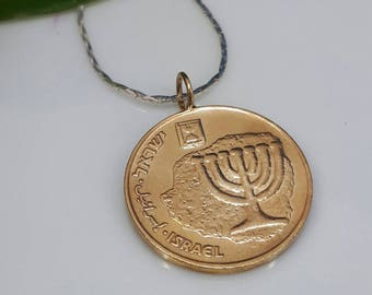 Gold coin with Silver Necklace, Hebrew Coin pendant, holy land necklace, artisan made, free shipping