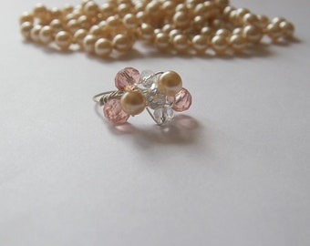 Gem & Pearl Cluster Ring with Earrings