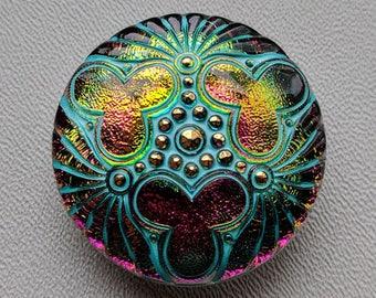 CZECH GLASS BUTTON: 36mm Handpainted Trefoil Medallion Czech Glass Button, Pendant, Cabochon (1)