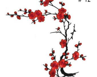 x 1 badge/patch applique fusible cherry blossom red 40 x 14 cm @79