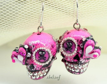 Skull in a-day is the day of the dead skulls pink earrings stone ES0069