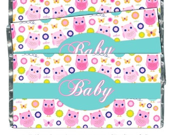 Owl Baby Shower Candy Wrappers - Owl Candy Wrappers, Butterfly Chocolate Bar Candy Wrappers - baby shower, pink owls