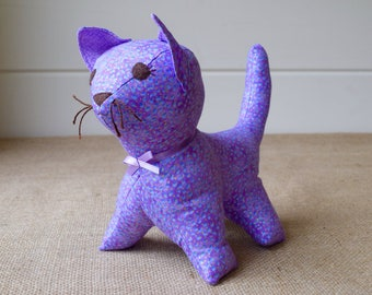 Toy Kitten - Lavender and Gold Stuffed Cat