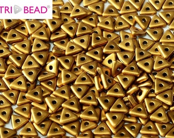 TRI bead Brass Gold Czech pressed glass beads 4 mm 5g/pack (01740)