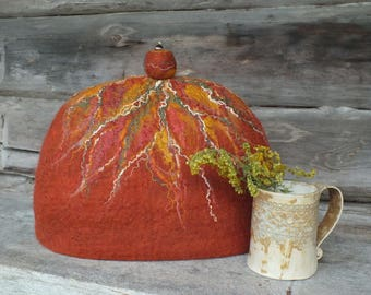 Brown Felted Tea Cozy, Felt Tea Pot Cosy, Brown Tea Pot Warmer, Handmade Wool Teapot Cover