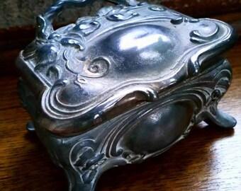 Art Nouveau Pewter Decorative Trinket Box