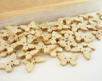 Butterfly Wood Buttons / Etched Natural Wood (25mm 8pcs set)