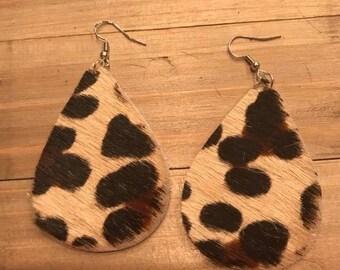 Leopard hide earrings, leopard, hair on hide, hair on hide earrings, earrings, leather earrings