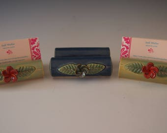 Ceramic business card holders with flower- large