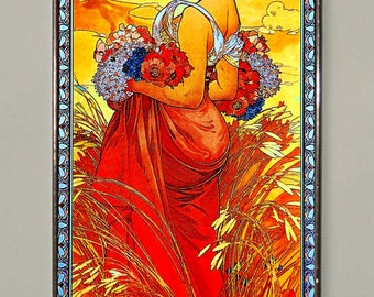 Alphonse Mucha. Summer.Stained glass.