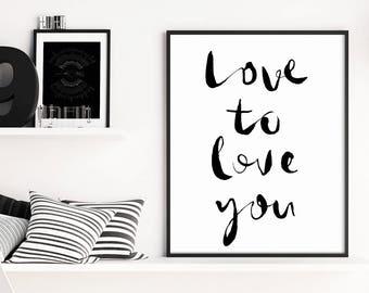 Bedroom Decor, Love Quotes, Bedroom Wall Art, Gallery Wall Art, Typography Print, Typography Wall Art, Typography Poster, Nursery Prints