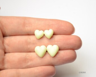 Glow in Dark Studs, Glow in Dark Polymer Clay Earrings, Glow in Dark Heart Studs, Minimal Polymer Clay Earrings, Simple Heart Studs