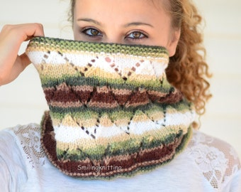 Cowl Scarf, Infinity Cowl, Chunky Cowl,Chevron Knit, Neck Warmer,Ombre, Brown, Beige, Cream, Wheat, Forest Green,Cowl, Hand Knit Scarf