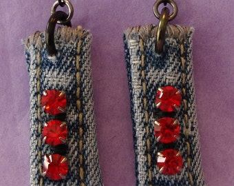 Denim Rhinestone earrings - red stones