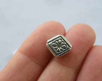 12 Flower spacer beads antique silver tone FS288