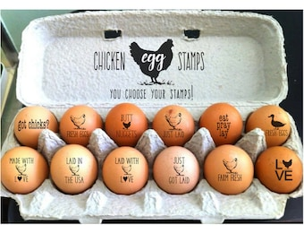 Egg Stamps | Chicken Egg Rubber Stamp | Fresh Eggs | Farm Fresh Stamper | Mini Stamps | Crazy Chicken Lady Gift Farmhouse Cute Sayings Hens