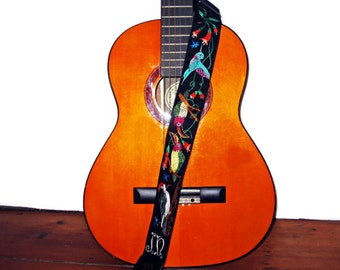 Guitar Strap/Custom Made/ Neo Tropical Birds/ Hummingbird/ Woodpecker/ Toucan/ Trumpet Vine/ Personalized OOAK