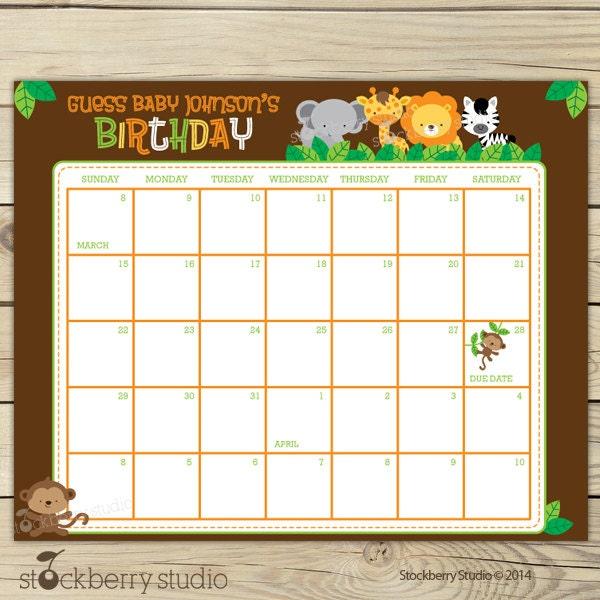Safari Baby Shower Guess The Due Date Calendar Printable