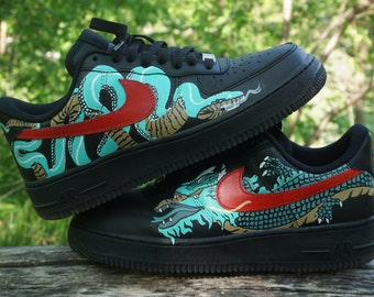 Nike Airforce dragon, dragon painted shoes, dragon shoes, beast shoes, hypebeast shoes, custom nike