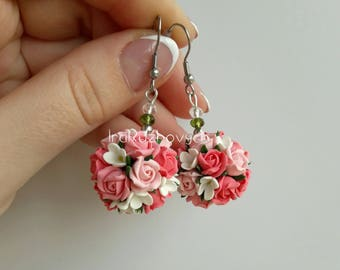 Polymer Clay Jewelry, floral earrings , Handmade Flowers earrings, flower ball earrings