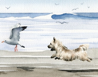 "Cairn Terrier Art Print ""CAIRN TERRIER At The Beach"" Watercolor Signed by Artist DJ Rogers"