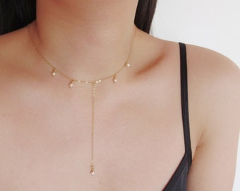 Lariat necklace, pearl necklace, Y necklace, gold filled necklace, layering necklace, choose sterling silver / gold filled / rosegold filled