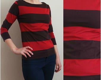 Vintage Marimekko Top, Red/Brown Striped 3/4 sleeves Top,  Striped T-Shirt