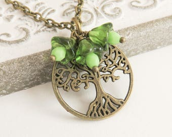 Tree of Life necklace, green charm necklace, family tree necklace, green jewelry, Tree of Life jewelry, gift for her