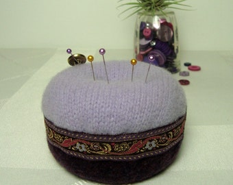 Purple Pincushion Lavender Wool Gold Button Handmade Soft OOAK